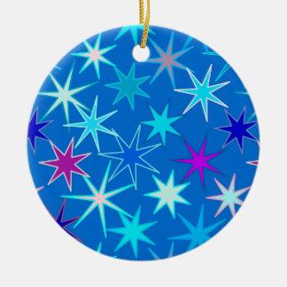 Modern Starburst Print, Deep Cerulean Blue Ceramic Ornament