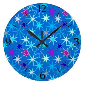 Modern Starburst Print, Deep Cerulean Blue Large Clock