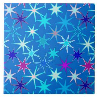 Modern Starburst Print, Deep Cerulean Blue Tile