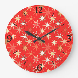 Modern Starburst Print, Deep Mandarin Orange Large Clock