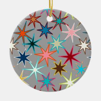 Modern Starburst Print, Jewel Colors on Gray Ceramic Ornament