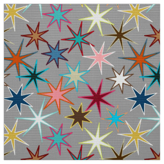 Modern Starburst Print, Jewel Colors on Gray Fabric