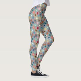Modern Starburst Print, Jewel Colors on Gray Leggings