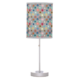 Modern Starburst Print, Jewel Colors on Gray Table Lamp