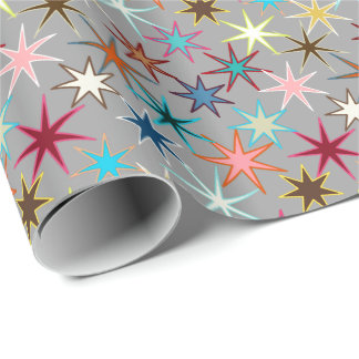 Modern Starburst Print, Jewel Colors on Gray Wrapping Paper
