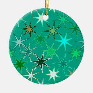 Modern Starburst Print, Turquoise and Aqua Ceramic Ornament