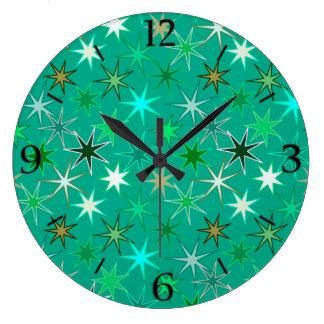 Modern Starburst Print, Turquoise and Aqua Large Clock