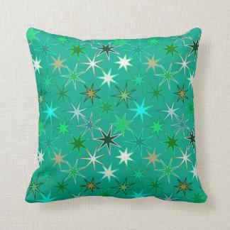Modern Starburst Print, Turquoise and Aqua Throw Pillow