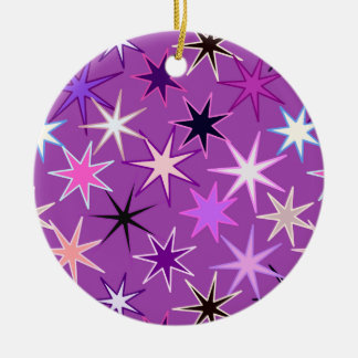 Modern Starburst Print, Violet Purple and Orchid Ceramic Ornament