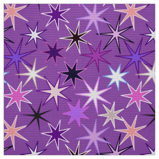 Modern Starburst Print, Violet Purple and Orchid Fabric