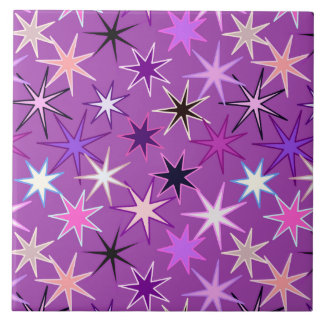 Modern Starburst Print, Violet Purple and Orchid Tile