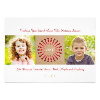 Modern Starburst Wreath Holiday Photo Card
