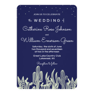 Modern Starry Sky and Cactus Navy Wedding I Card