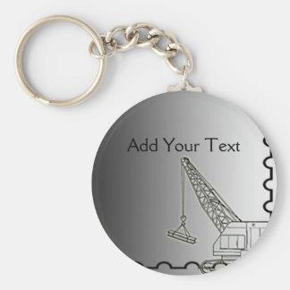 Modern Steel Construction Basic Round Button Keychain