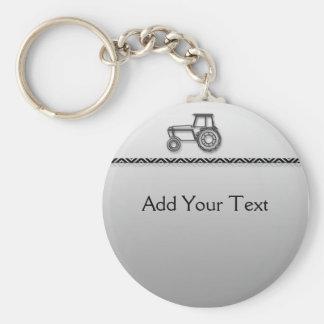 Modern Steel Tractor Keychain