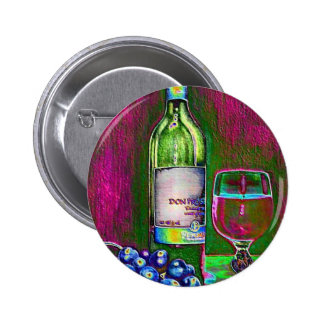 Modern still life art of wine and grapes button