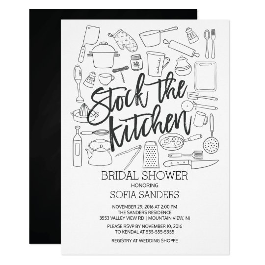 Modern Stock the Kitchen Tools Bridal Shower Card
