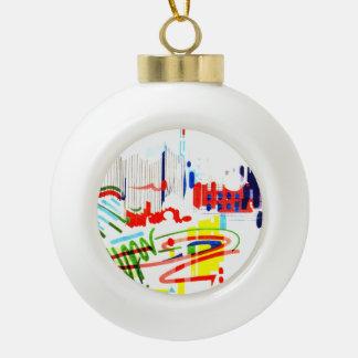 Modern Street Tiles - Lisbon Ceramic Ball Christmas Ornament