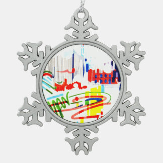 Modern Street Tiles - Lisbon Snowflake Pewter Christmas Ornament