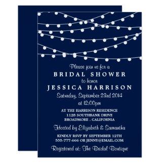 "Modern String Lights On Navy Blue Bridal Shower 5"" X 7"" Invitation Card"