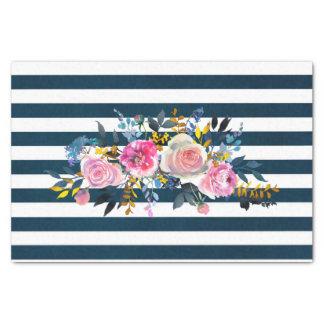 Modern Stripe Floral Pattern Tissue Paper
