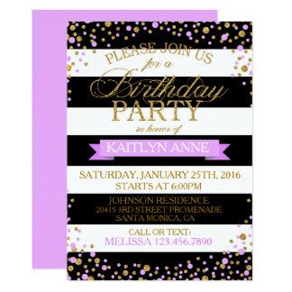 Modern Stripe Lavender Gold Glitter Dots Birthday Card