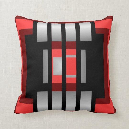 Modern STRIPE  Pillow- -Red/Coral/White/Grey/Black Throw Pillow