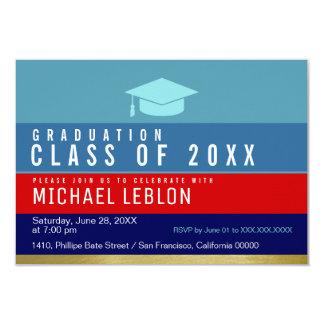 modern, striped & cool graduate . grad party card