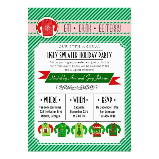 Modern Striped Ugly Sweater Holiday Party Personalized Invite