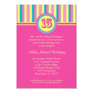 Modern Stripes 15 Birthday Quinceañera Invitation