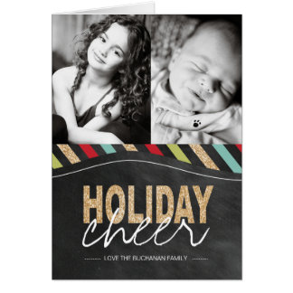 Modern Stripes and Glitter Holiday Greeting Card