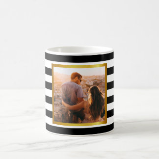 Modern stripes and personal photo coffee mug