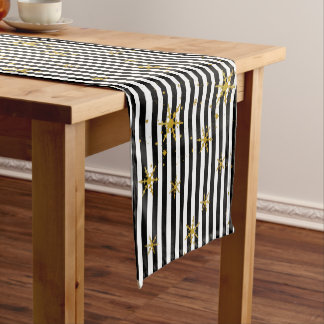Modern Stripes and Snowflakes Holiday Table Runner