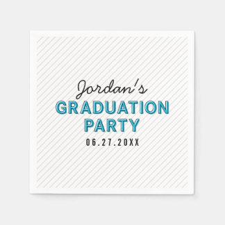 Modern Stripes Blue Graduation Party Paper Napkin