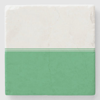 Modern Stripes Emerald Green Custom Stone Coaster