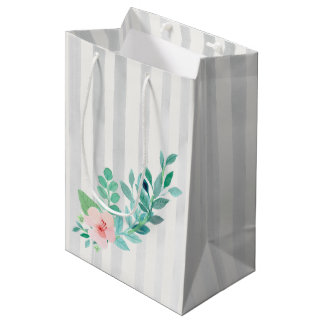 Modern Stripes Floral Watercolor Bohemian Wedding Medium Gift Bag