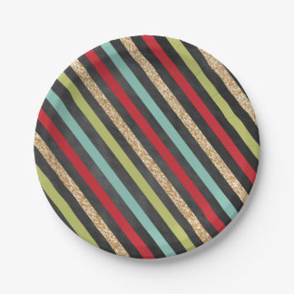 Modern Stripes Holiday Paper Plates 7 Inch Paper Plate