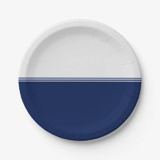 Modern Stripes Navy Blue Custom Paper Plate