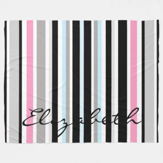 Modern Stripes Personalized Fleece Blanket