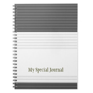 Modern Stripes Personalized Spiral Notebook:Green