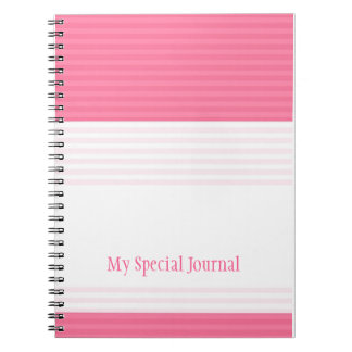 Modern Stripes Personalized Spiral Notebook:Pink