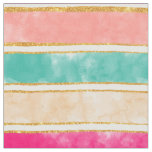 Modern Stripes Pink Red Watercolor Gold Glitter Fabric