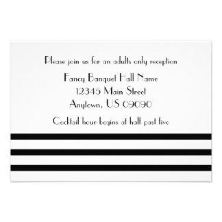 Modern Stripes Reception Cards Black Personalized Invitations