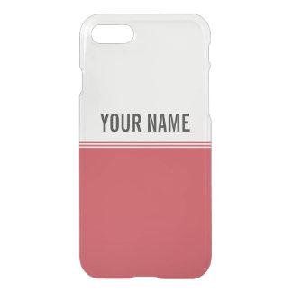 Modern Stripes Ruby Red Custom Name iPhone 7 Case
