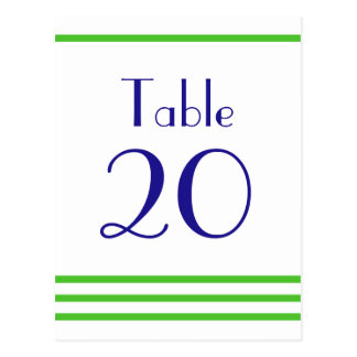 Modern Stripes Table Numbers (Lime Green / Navy) Postcard