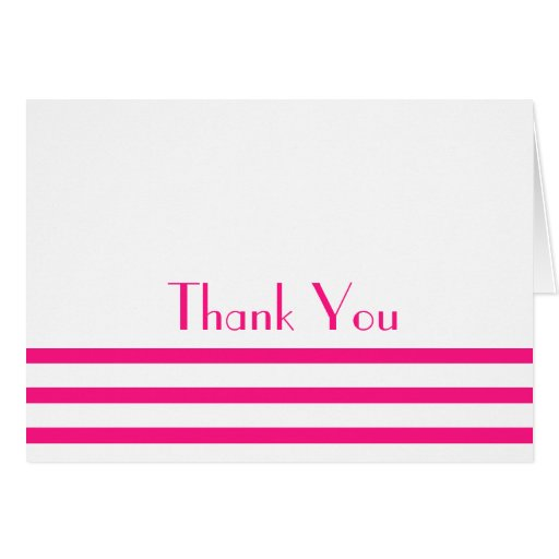 Modern Stripes Thank You Note Cards (Hot Pink)