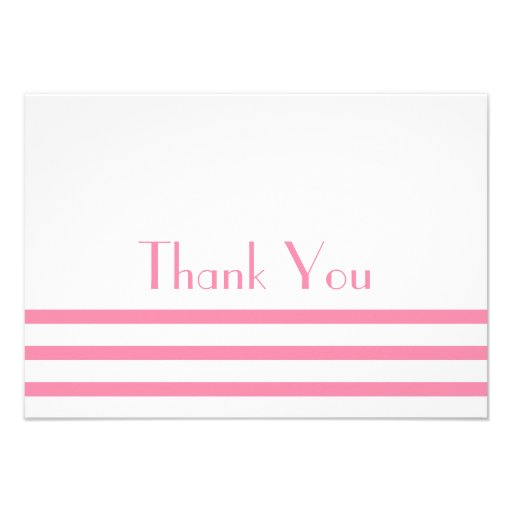 Modern Stripes Thank You Note Cards (Pink)