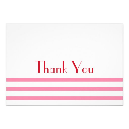 Modern Stripes Thank You Note Cards (Pink / Red)
