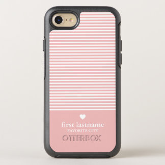 Modern Stripes with Upscale Heart Monogram OtterBox Symmetry iPhone 7 Case