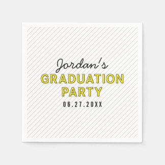 Modern Stripes Yellow Graduation Party Paper Napkin